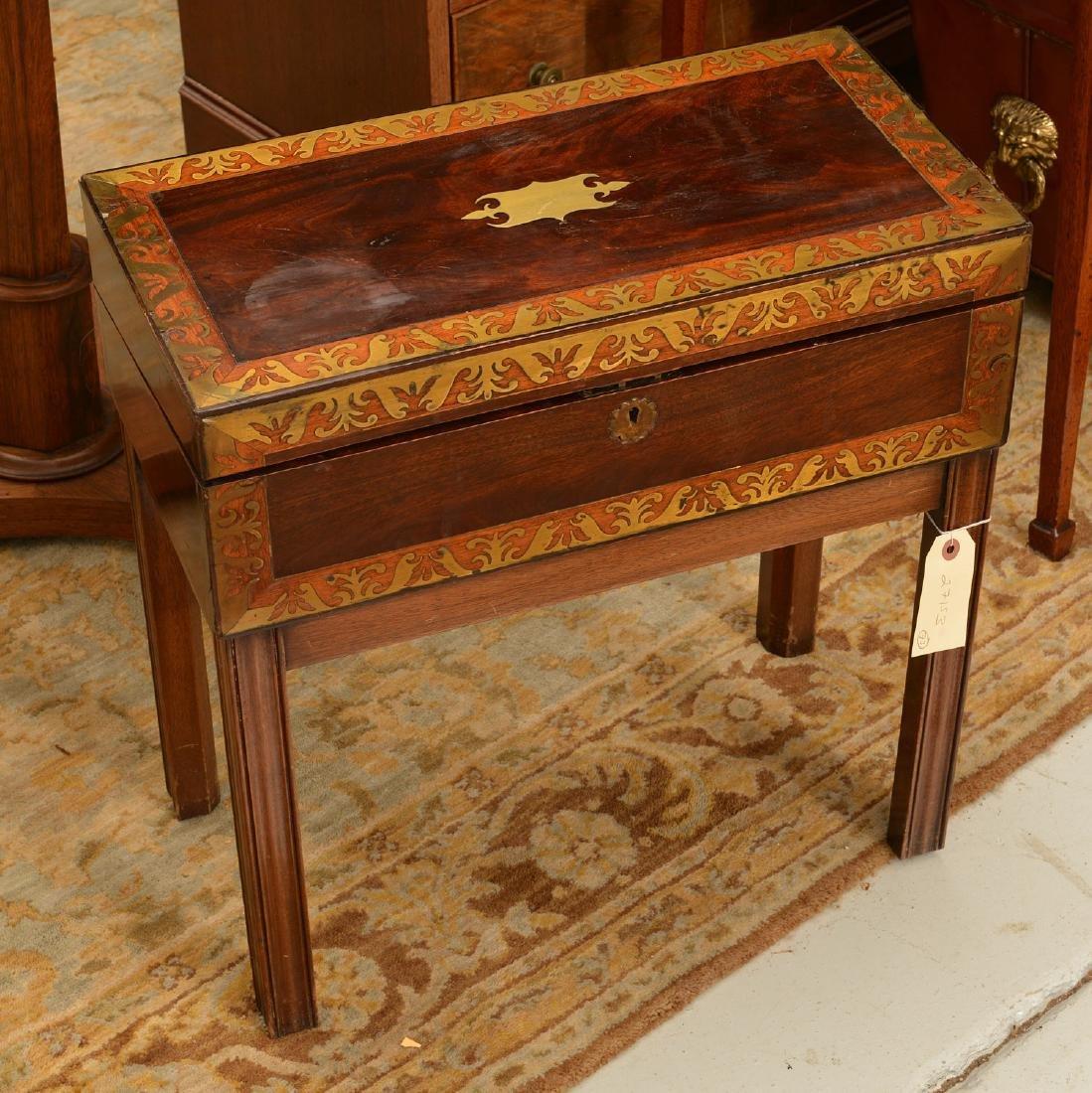 Nice Regency brass inlaid travel desk