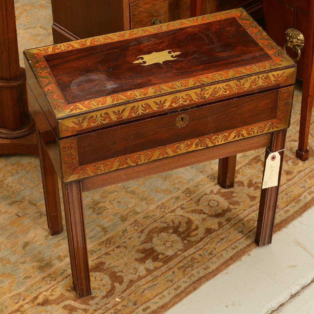 Nice Regency brass inlaid travel desk