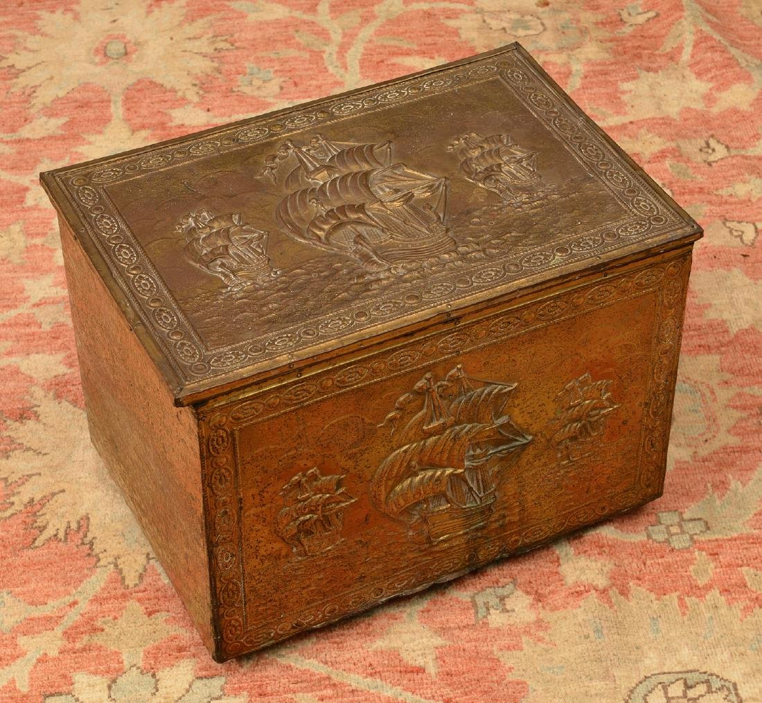 English chased brass coal box