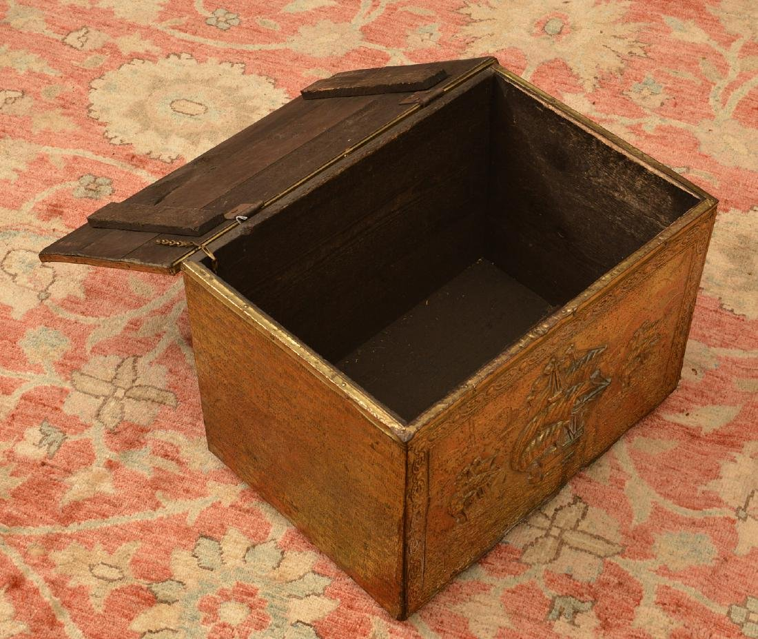 English chased brass coal box - 2
