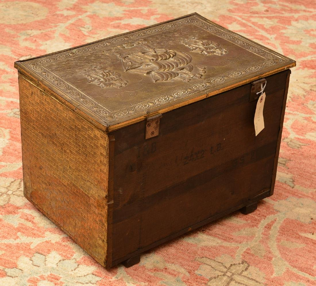 English chased brass coal box - 4