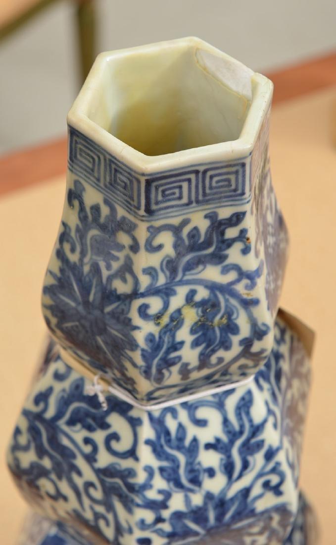 Pair Chinese blue/white triple gourd vases - 2
