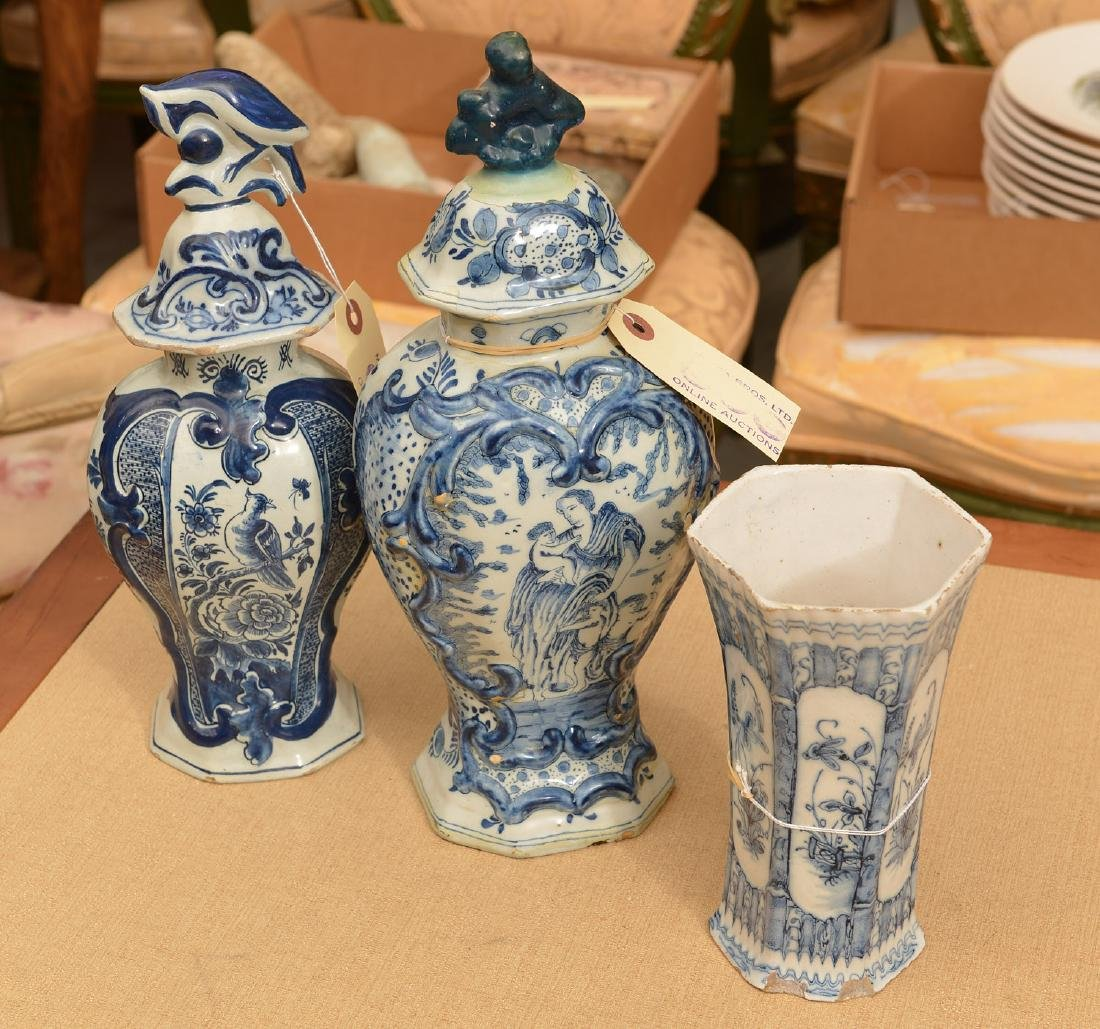 (3) Delft blue and white pottery vessels