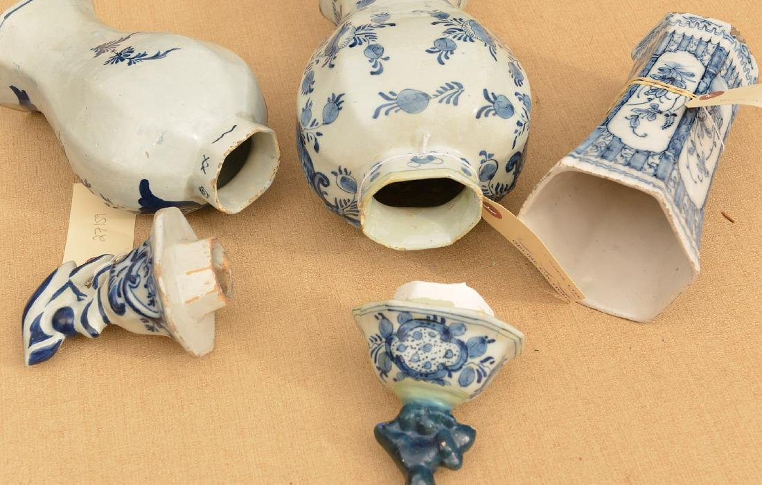 (3) Delft blue and white pottery vessels - 4