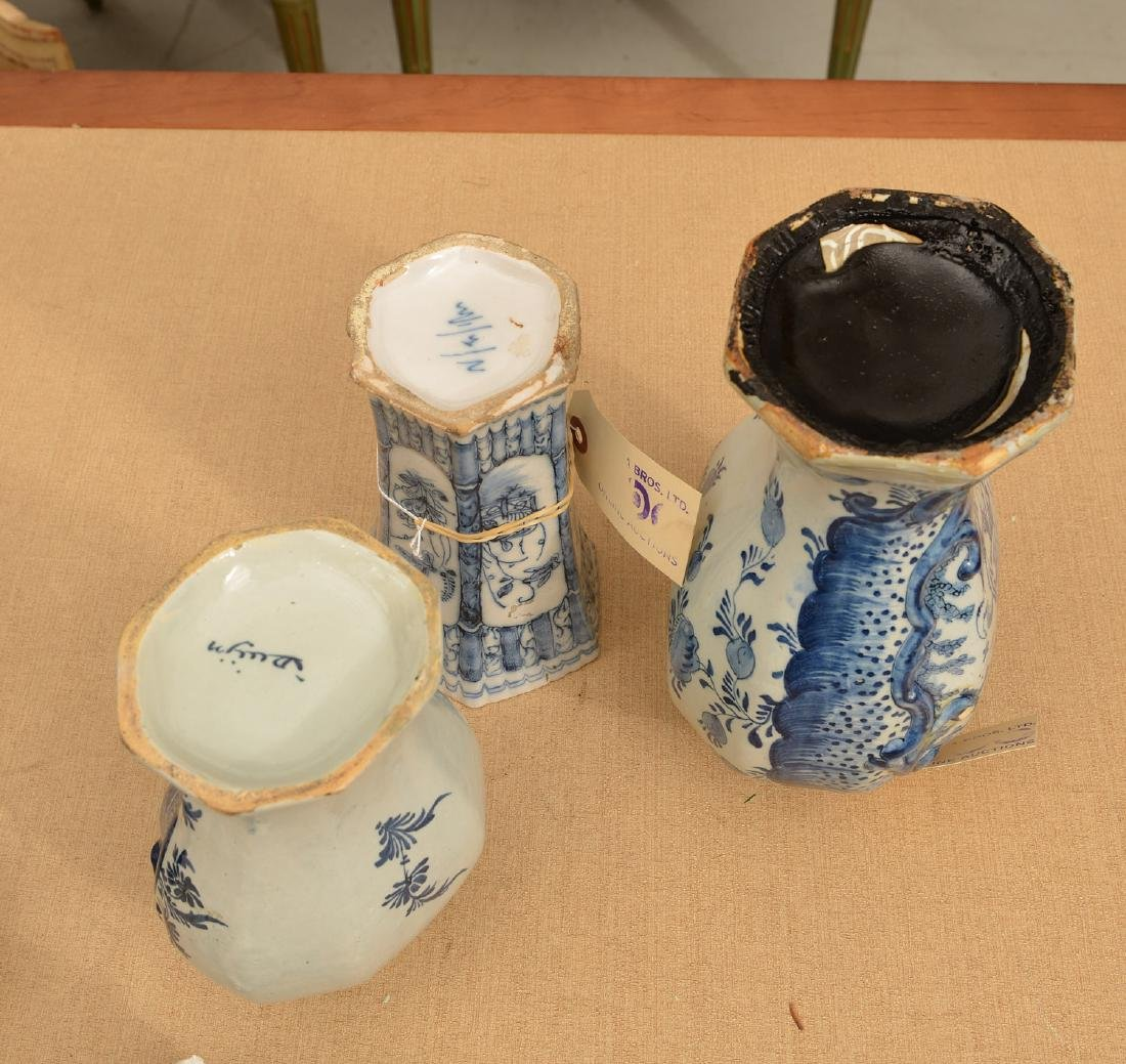 (3) Delft blue and white pottery vessels - 5