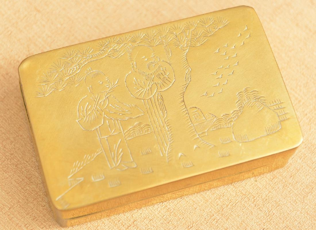 (2) Chinese engraved brass ink stone cases - 2