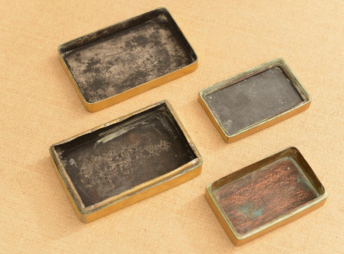 (2) Chinese engraved brass ink stone cases - 4