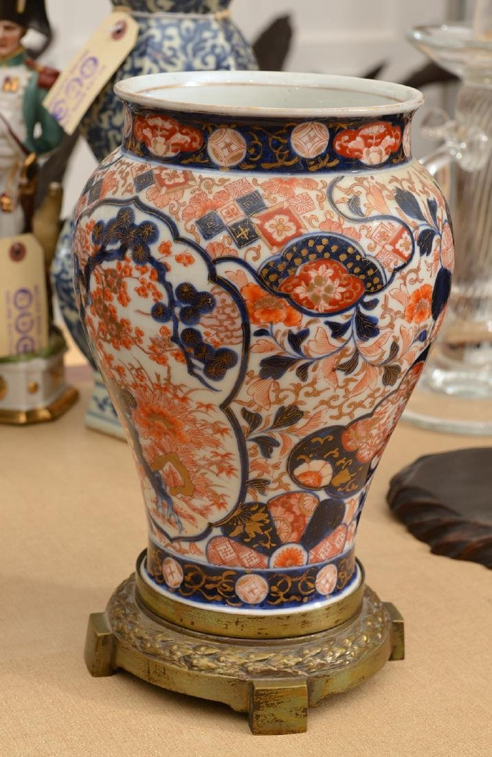 Brass mounted Japanese Imari baluster vase - 3