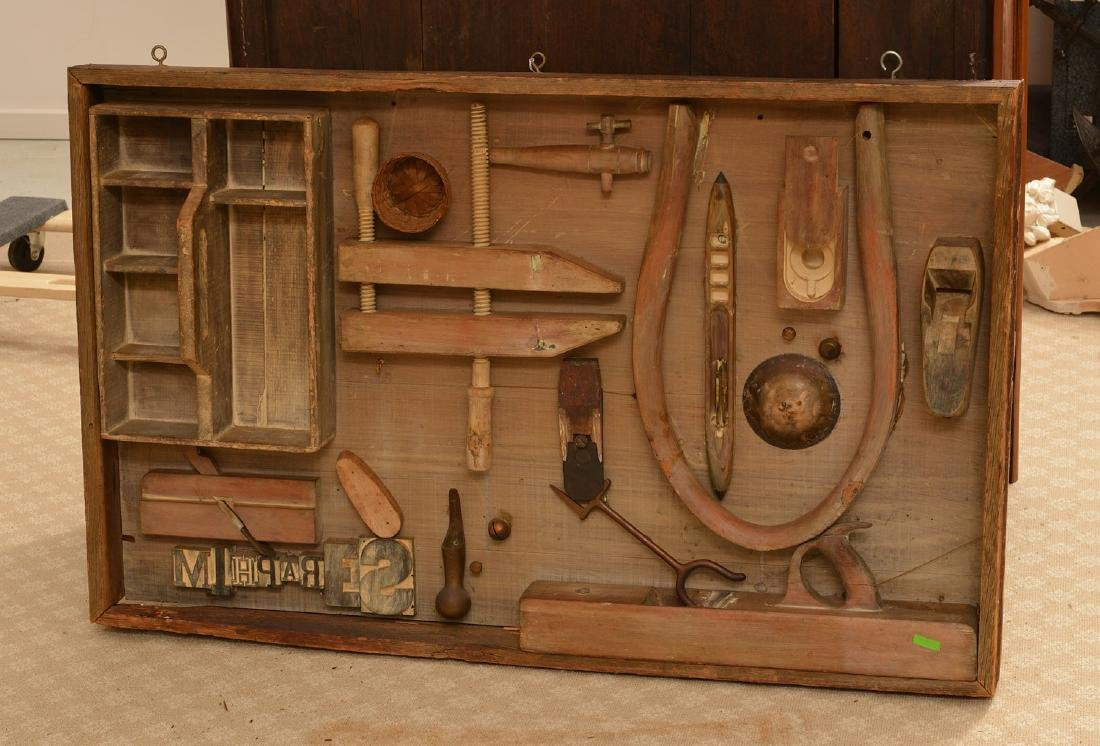 Antique tool and found object wall sculpture