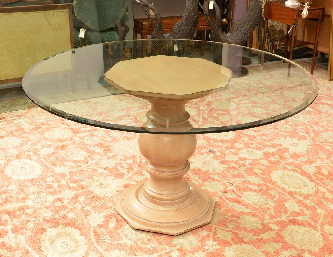 Decorator glass top pedestal dining table