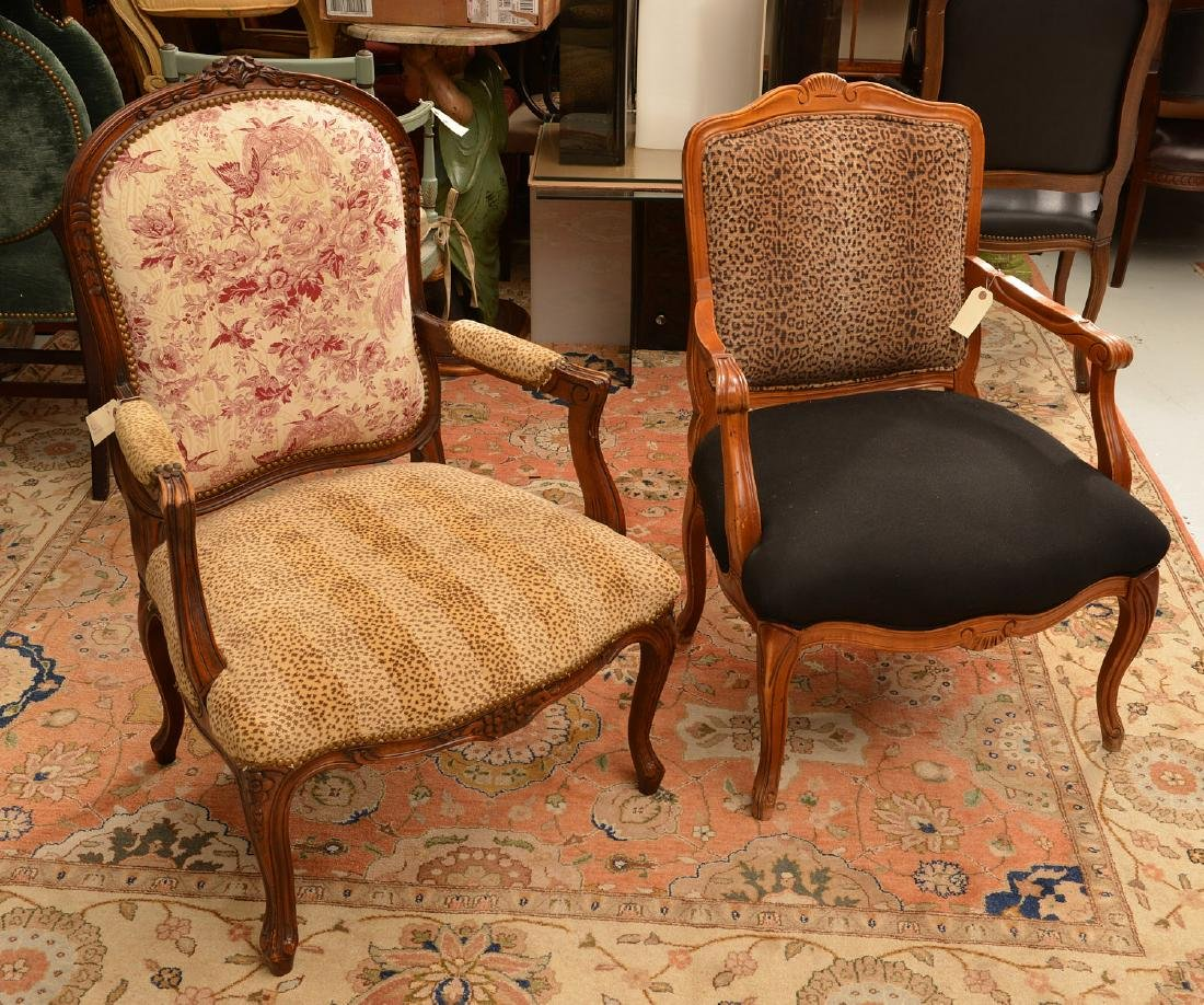 (2) Louis XV style armchairs with animal print