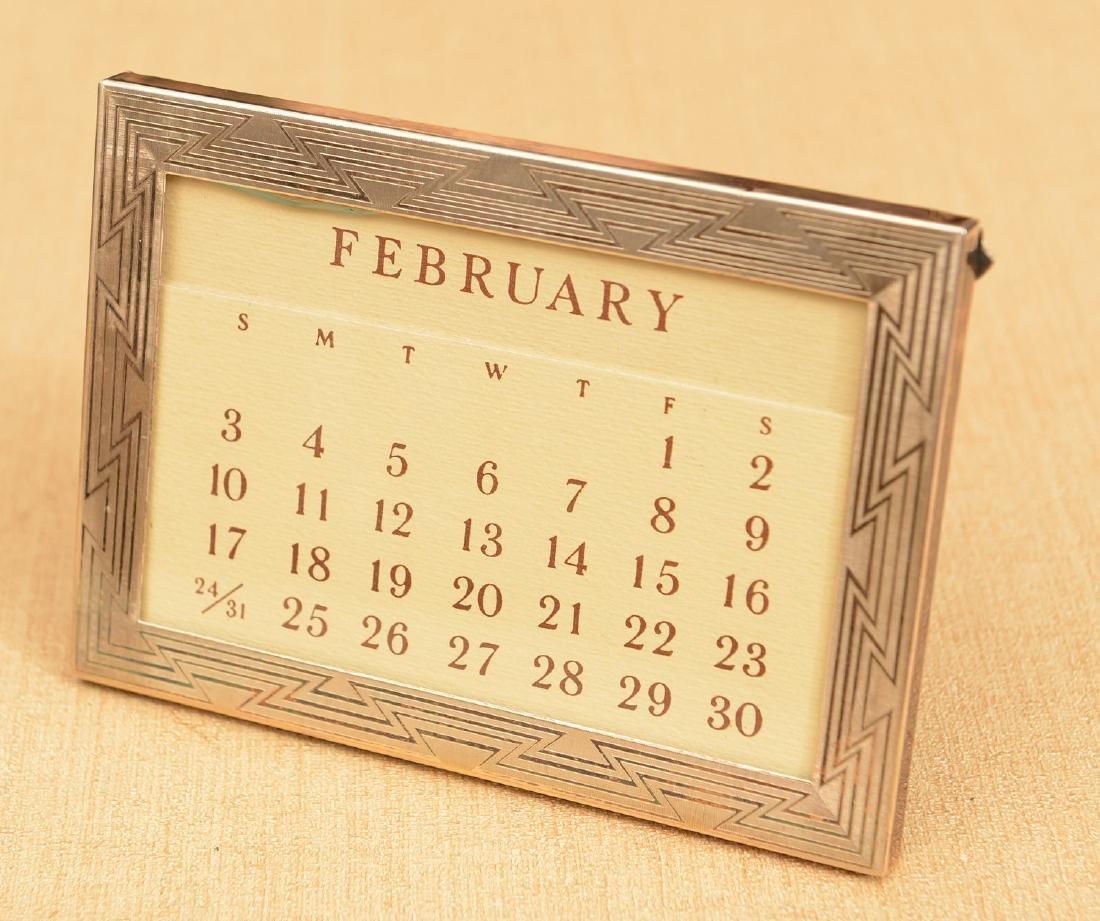 Tiffany & Co. sterling framed desk calendar