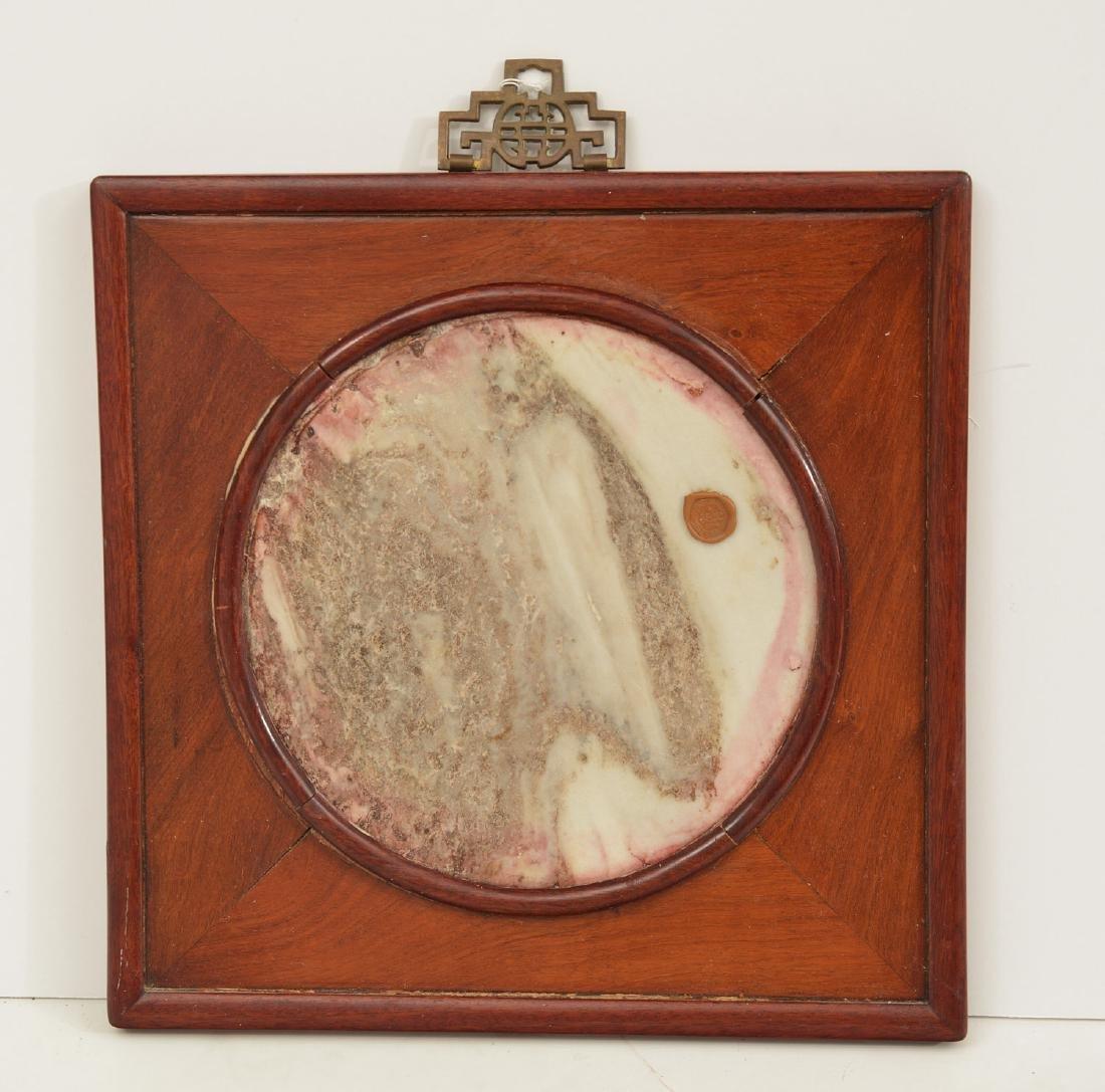 Chinese hardwood framed marble panel