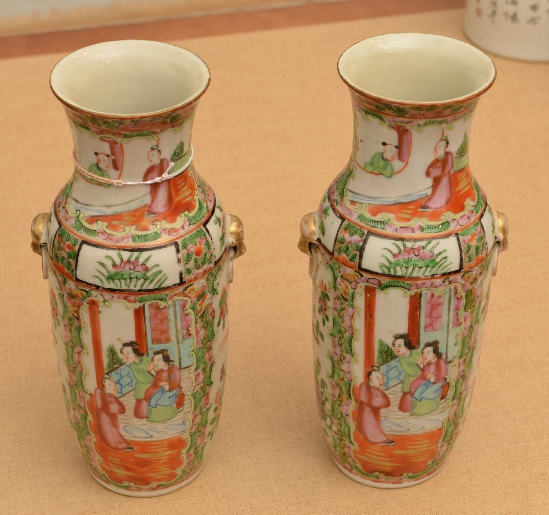 Pair Chinese rose medallion vases - 2