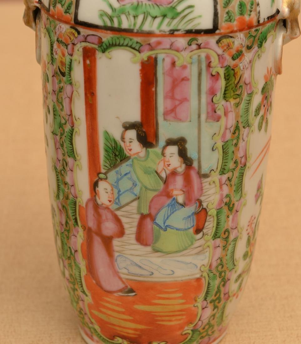 Pair Chinese rose medallion vases - 3