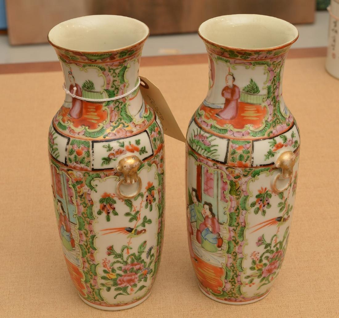 Pair Chinese rose medallion vases - 4