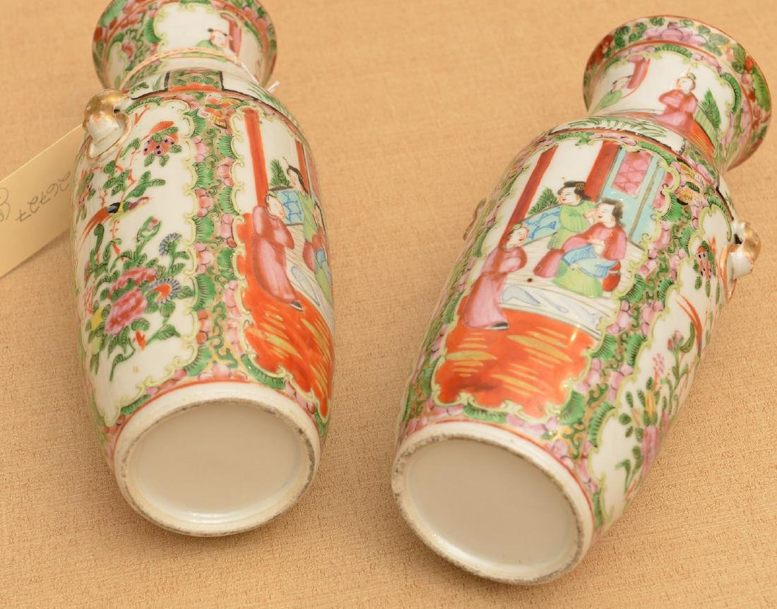 Pair Chinese rose medallion vases - 7