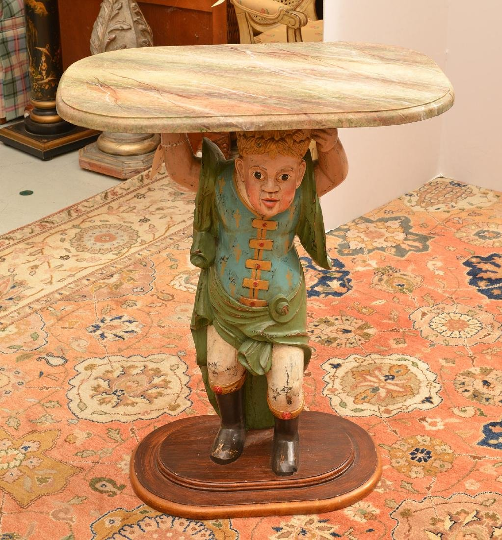 Continental style polychromed wood figural table