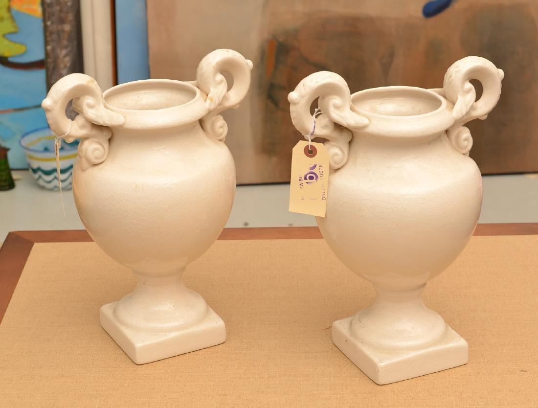 Pair Bordallo Pinheiro Portuguese pottery urns