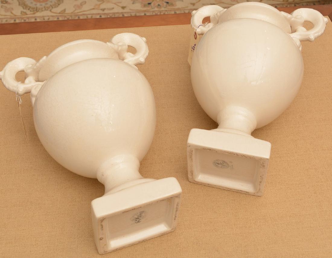 Pair Bordallo Pinheiro Portuguese pottery urns - 4