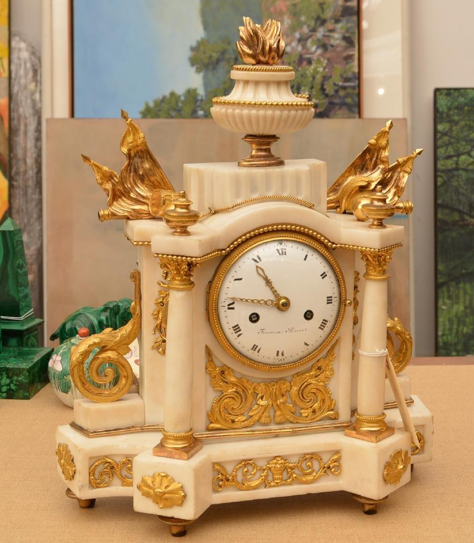 Louis XVI gilt bronze and marble mantel clock