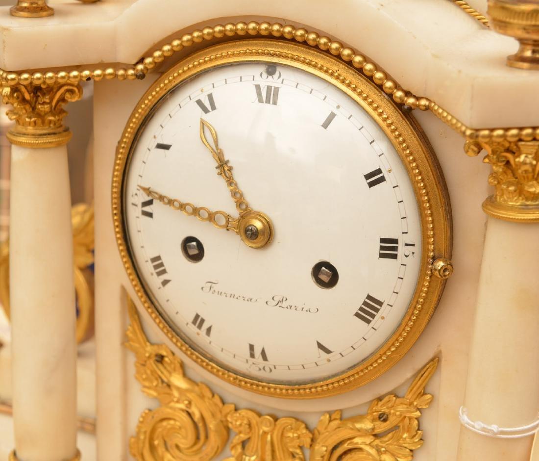 Louis XVI gilt bronze and marble mantel clock - 2