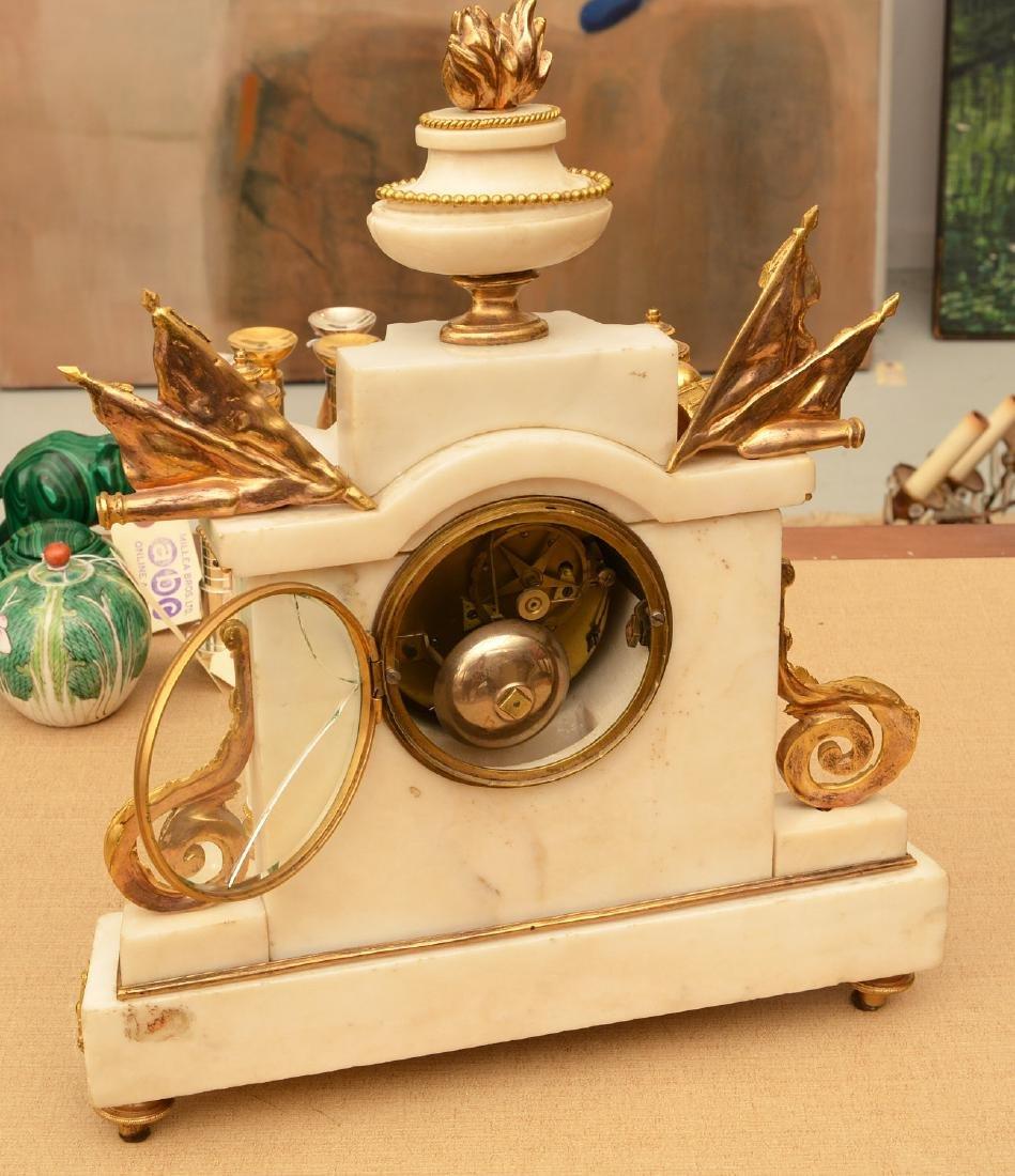Louis XVI gilt bronze and marble mantel clock - 5