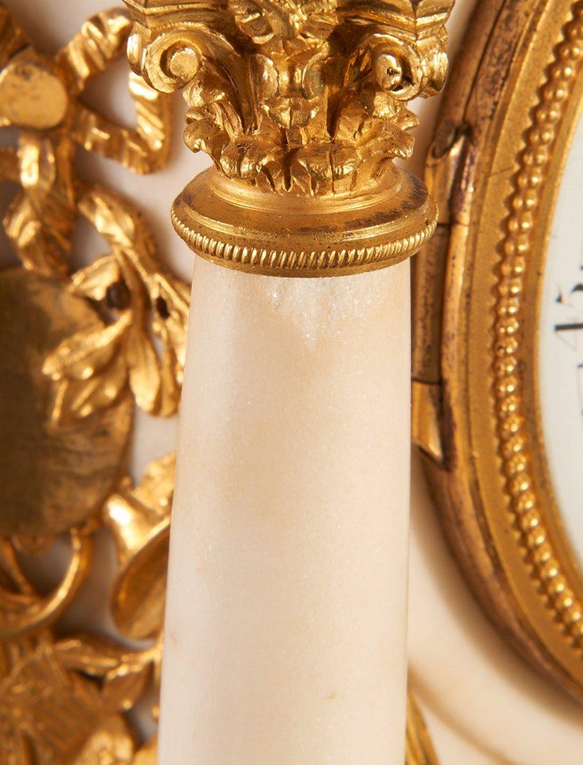 Louis XVI gilt bronze and marble mantel clock - 9