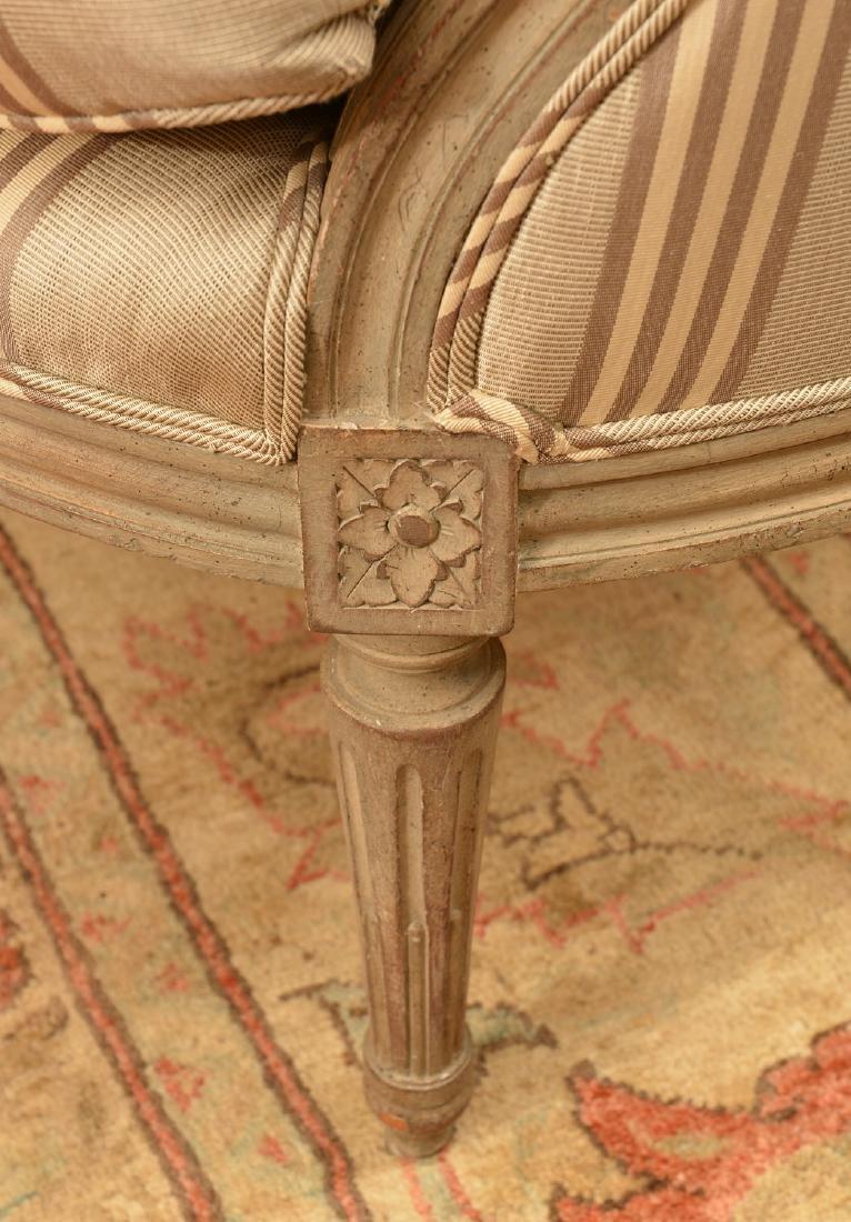 Louis XVI style cream painted settee - 4