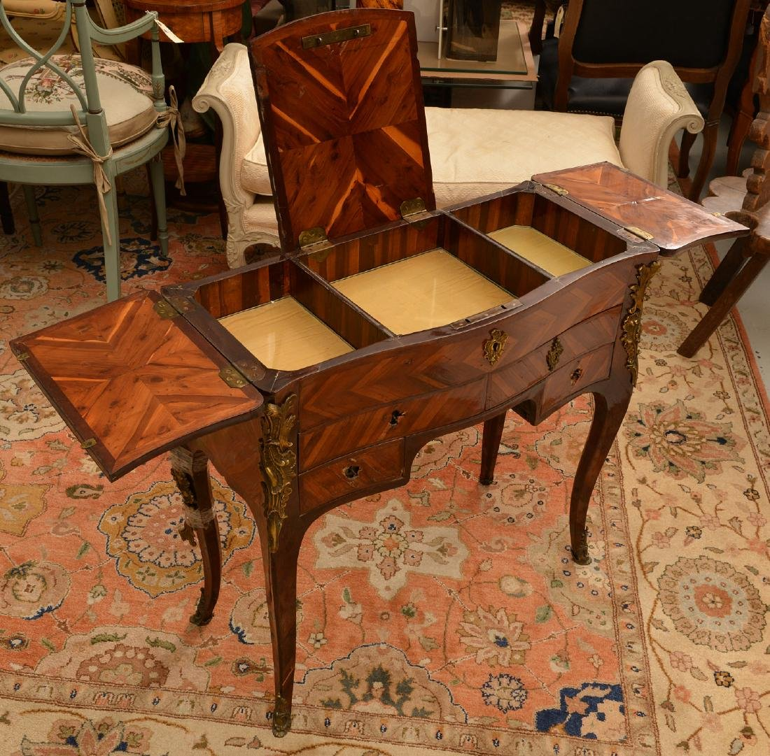 Louis XV style inlaid dressing table