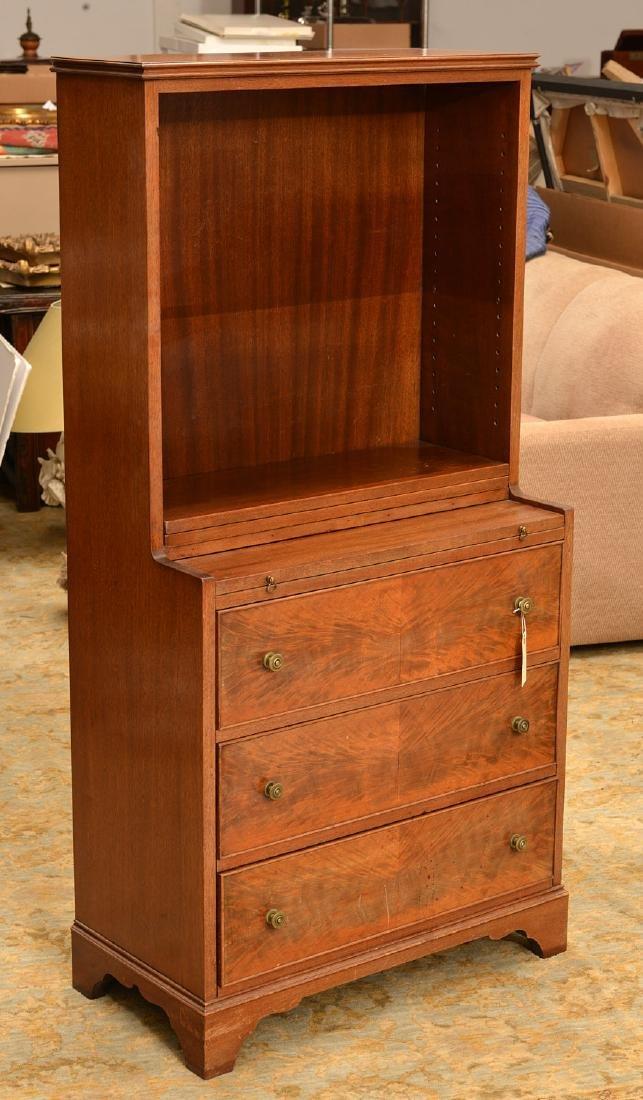 George III style mahogany bureau bookcase