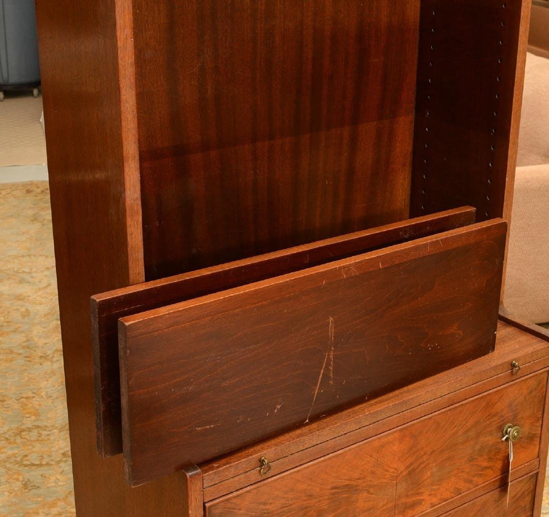 George III style mahogany bureau bookcase - 2