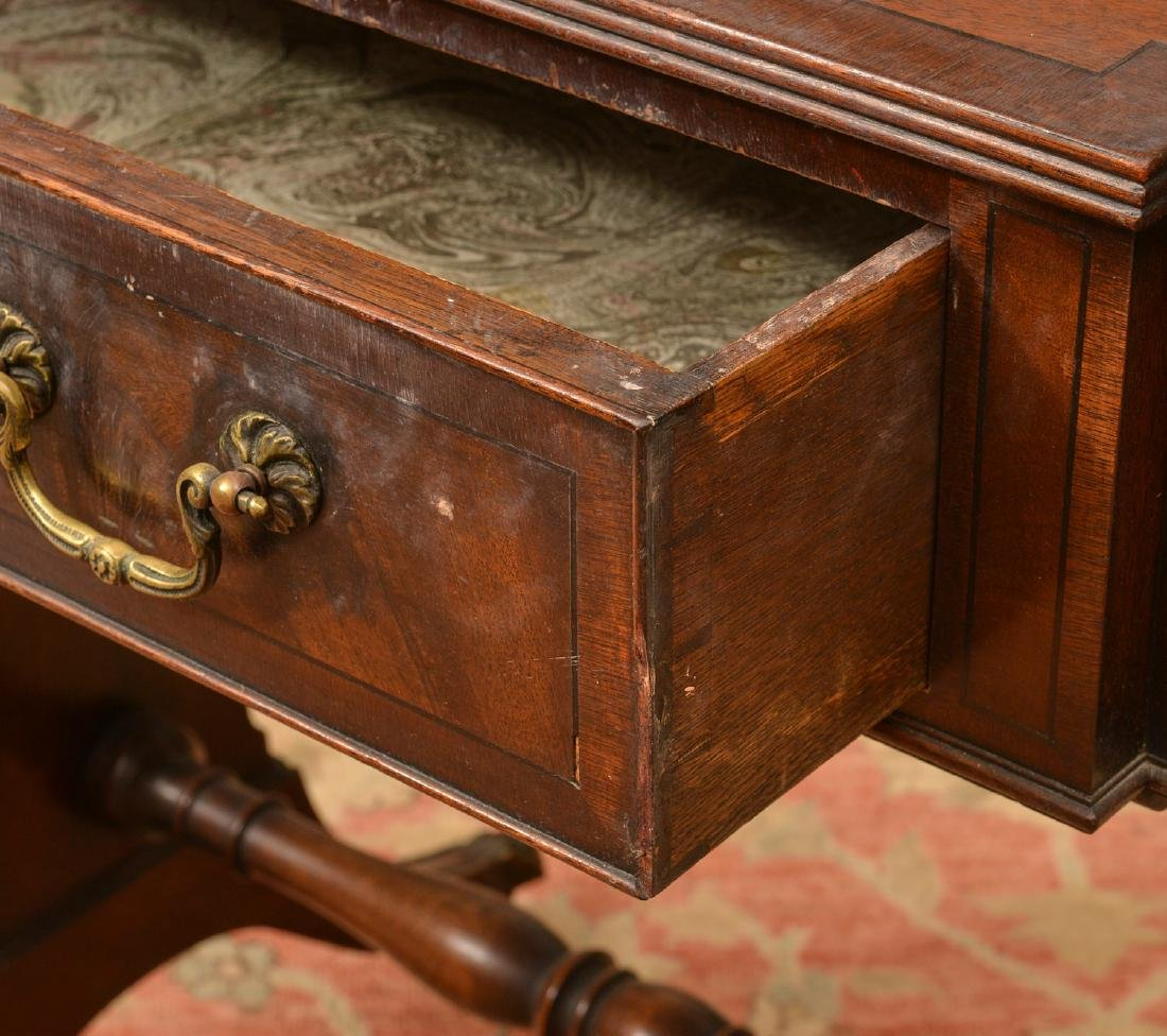 Antique George III style mahogany work table - 2
