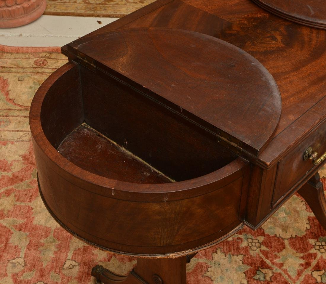 Antique George III style mahogany work table - 4