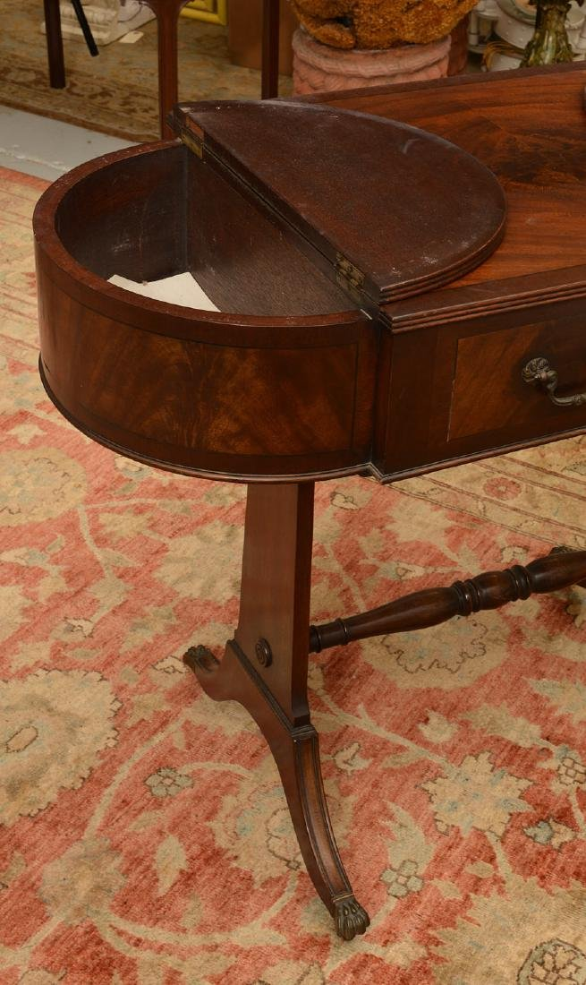 Antique George III style mahogany work table - 5
