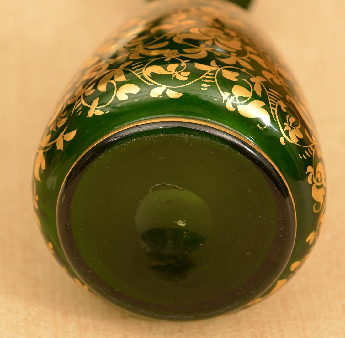 Green bohemian glass portrait scent bottle - 5