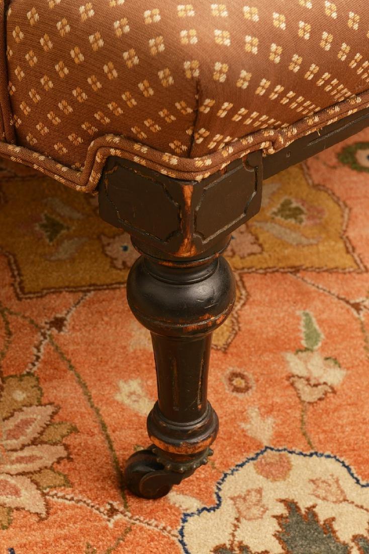 Napoleon III ebonized upholstered settee - 2