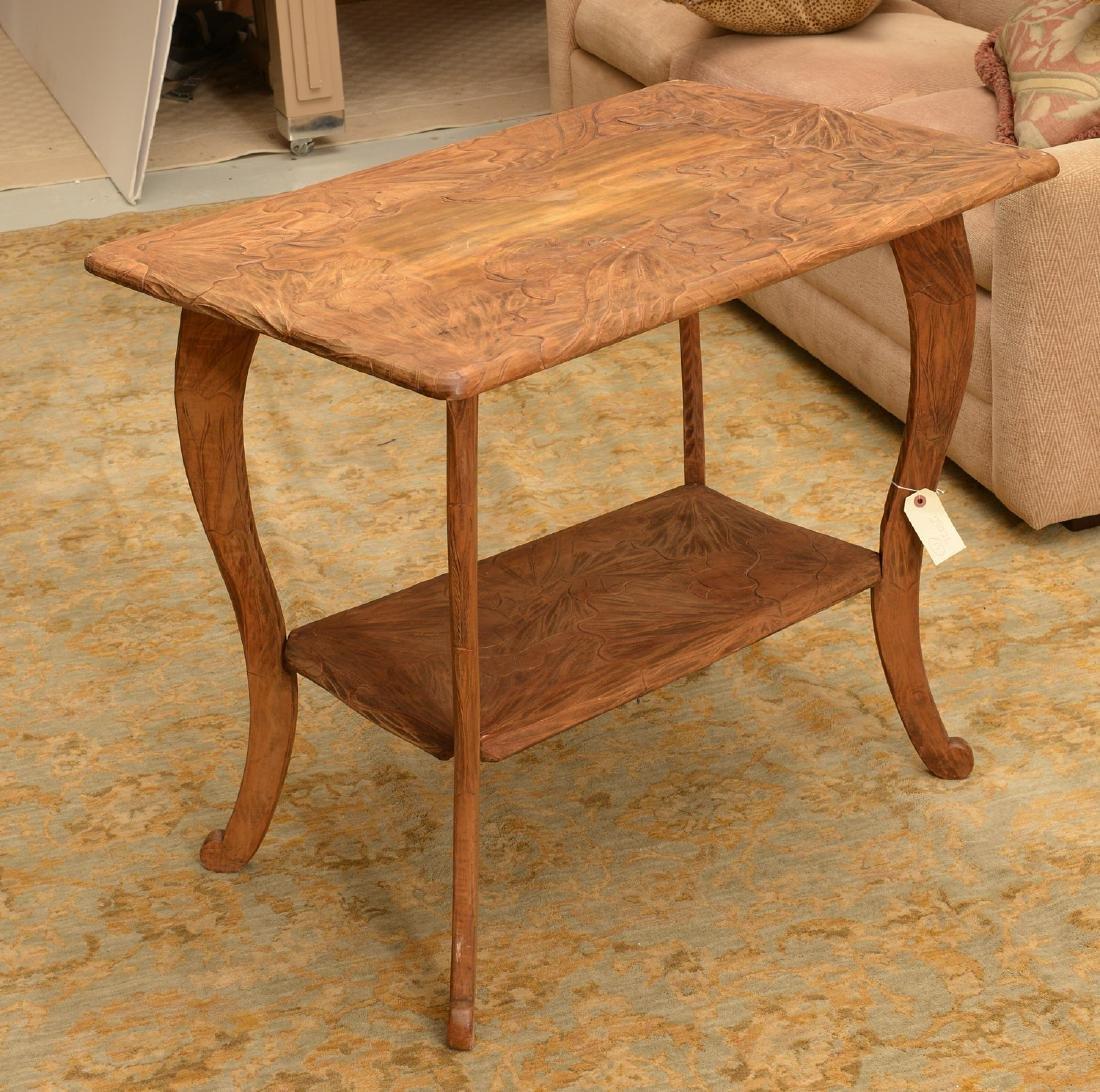 Asian Art Nouveau carved wood side table
