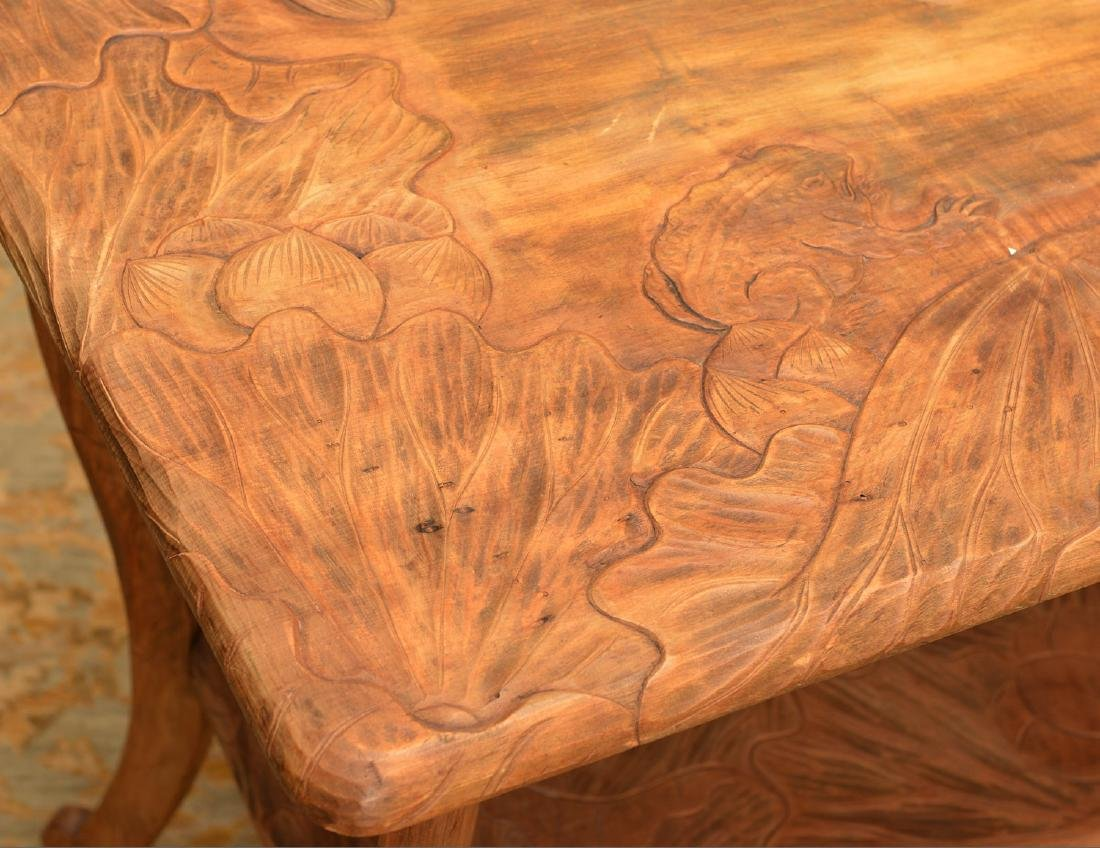 Asian Art Nouveau carved wood side table - 3