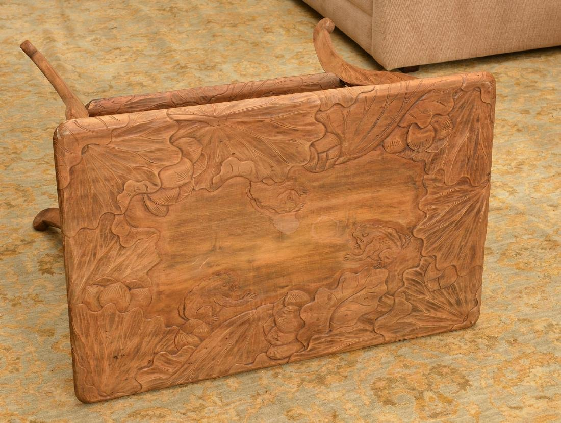Asian Art Nouveau carved wood side table - 6