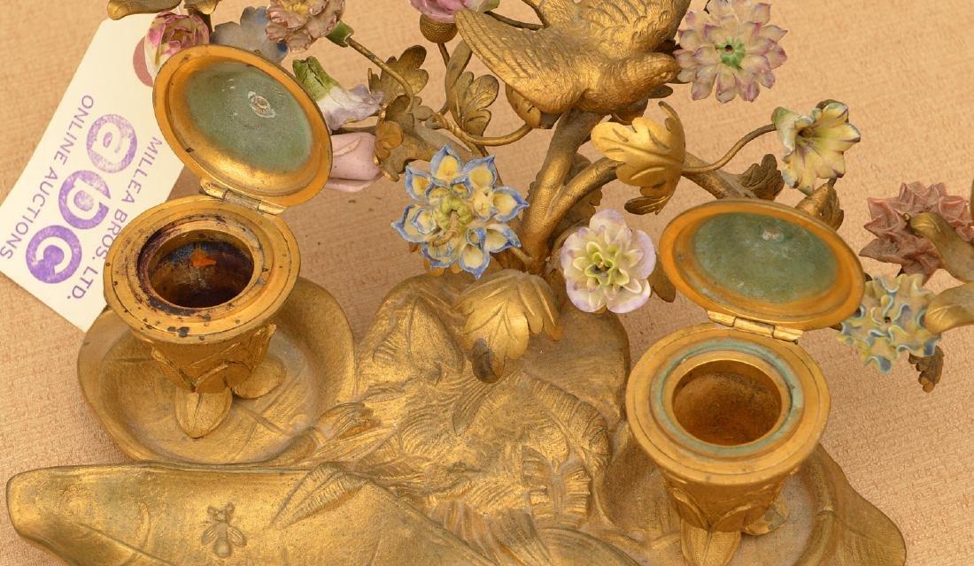 "Belle Epoque gilt bronze encrier signed ""GM"" - 3"