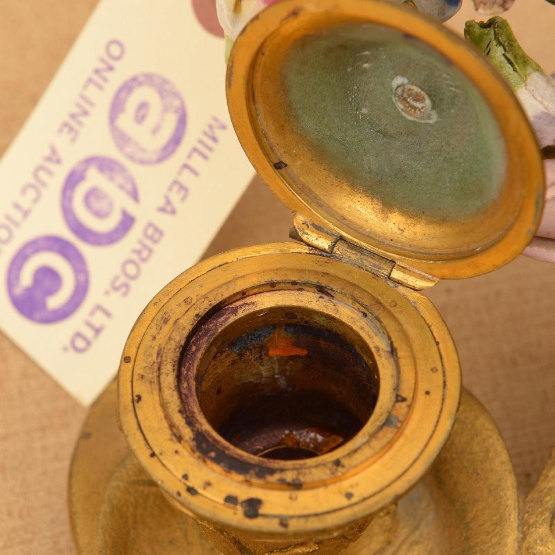 "Belle Epoque gilt bronze encrier signed ""GM"" - 4"
