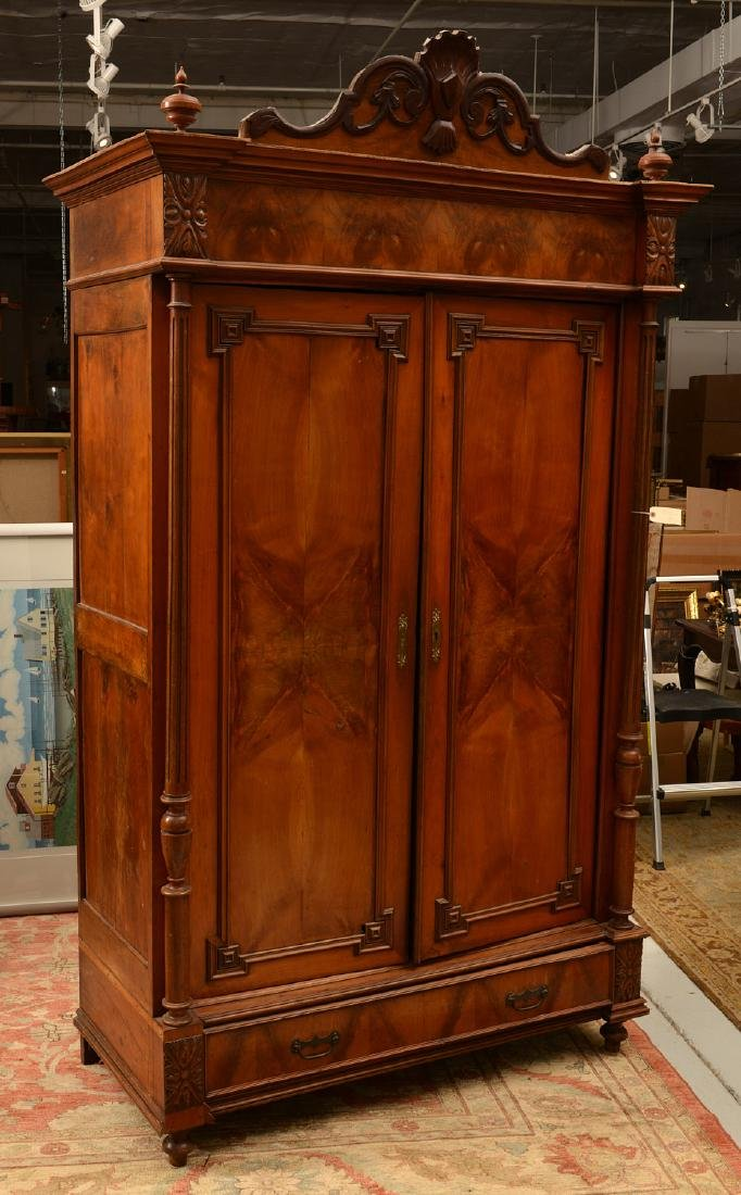 Continental Neo-Classical walnut armoire - 2