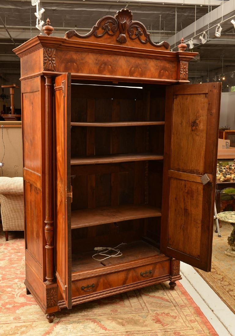 Continental Neo-Classical walnut armoire - 4