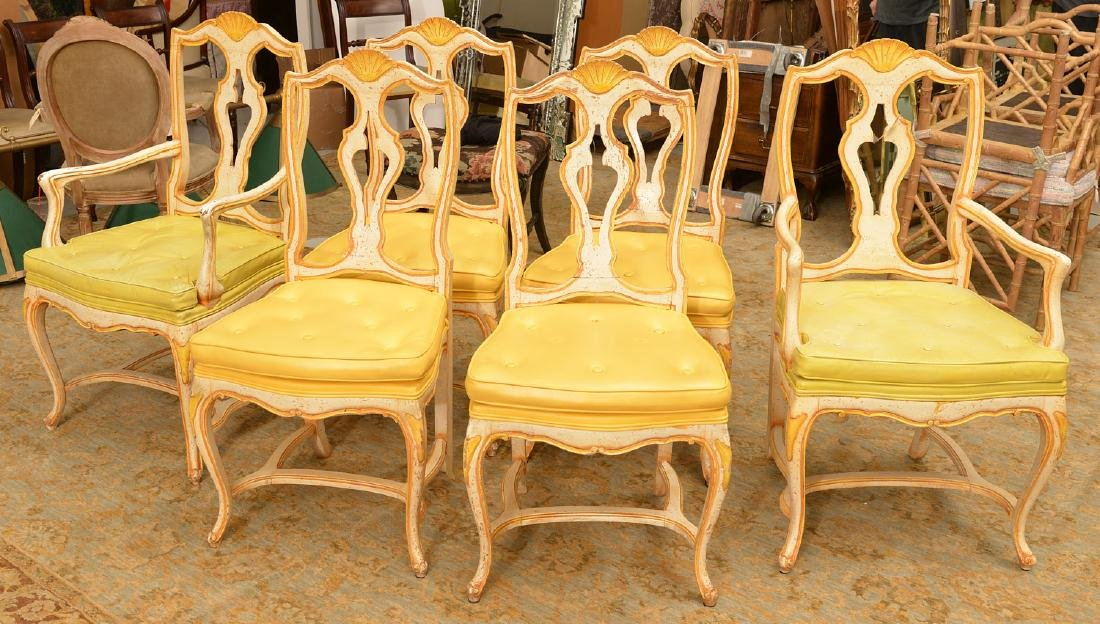 Set (6) Italian Rococo style painted dining chairs