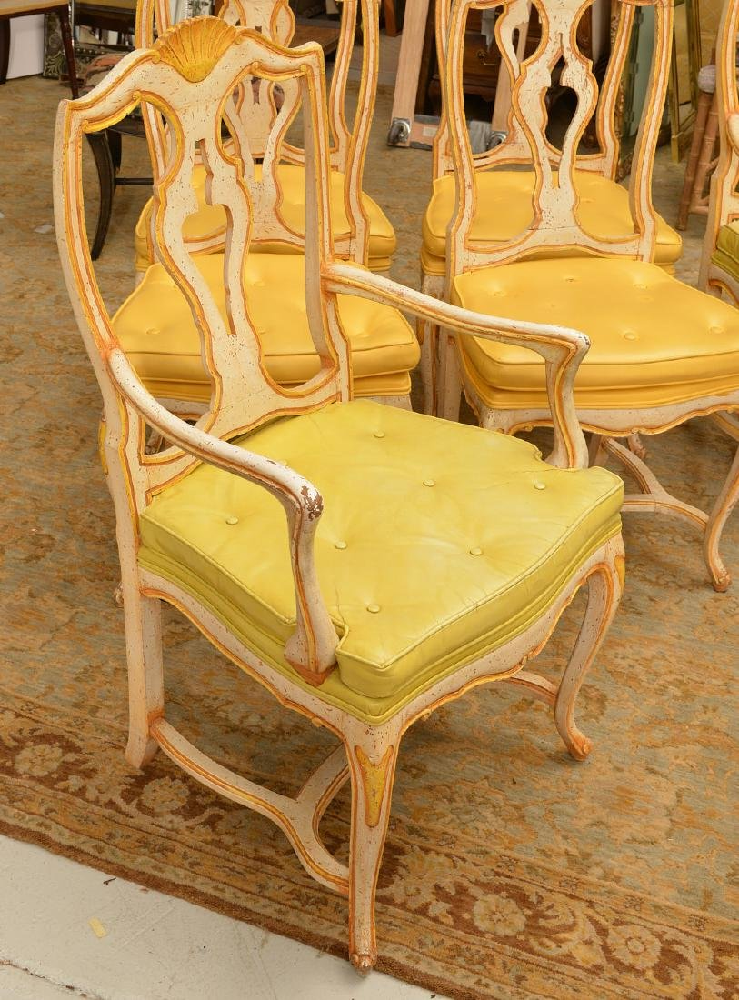 Set (6) Italian Rococo style painted dining chairs - 4