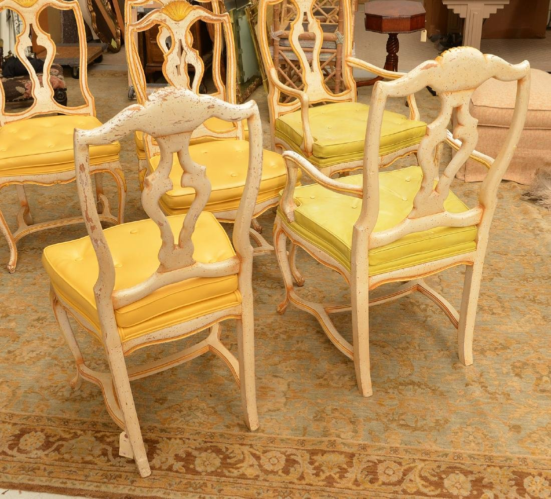 Set (6) Italian Rococo style painted dining chairs - 5
