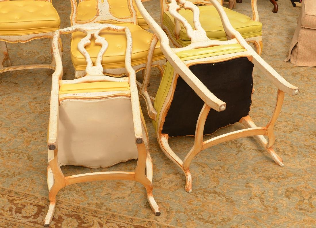 Set (6) Italian Rococo style painted dining chairs - 6