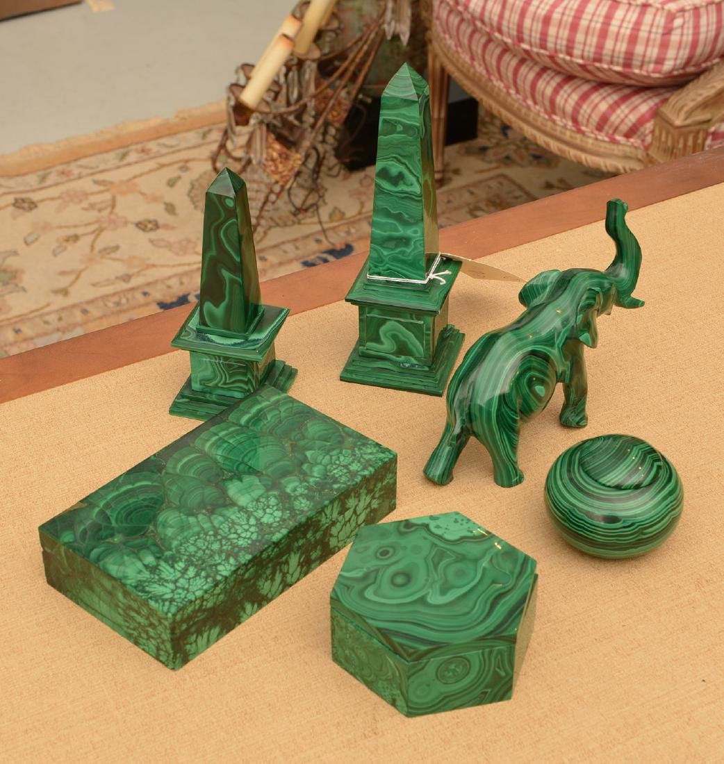 Malachite collection: boxes, obelisks, elephant