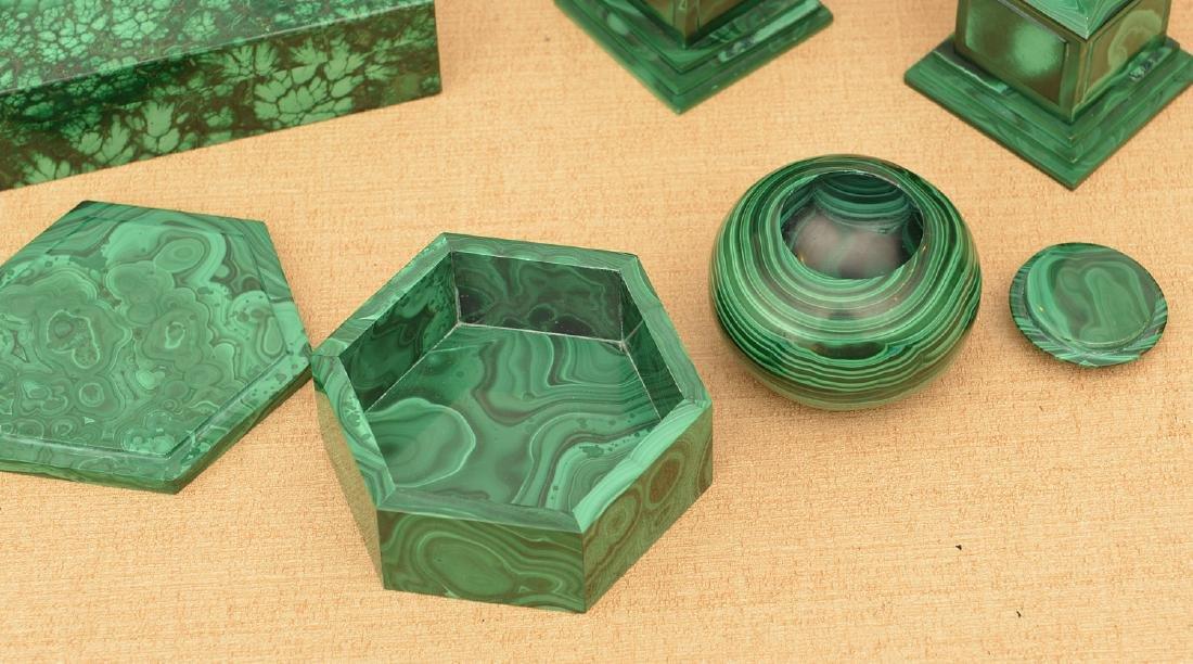 Malachite collection: boxes, obelisks, elephant - 3